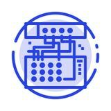 Het analogon, Verbinding, Apparaat, Module, klinkt het Blauwe Pictogram van de Gestippelde Lijnlijn stock illustratie