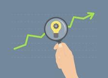 Het analyseren van concept van de de groei het vlakke illustratie Stock Fotografie