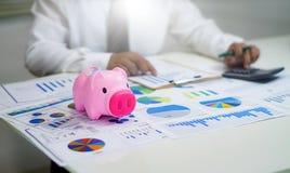 het analyseren van inkomensgrafieken en grafieken met calculator Royalty-vrije Stock Afbeeldingen