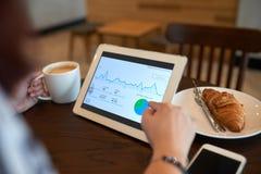 Het analyseren van Statistiekgegevens bij Comfortabele Koffie royalty-vrije stock foto