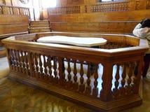 Het Anatomische Theater van Archiginnasio bij de Universiteit van Bologna, Italië stock foto