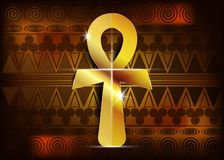 Het ankh Egyptische kruis Vector illustratie Antiek gouden ankh Egyptisch godsdienstig symbool De oude Egyptenaren gebruikten Ank royalty-vrije illustratie
