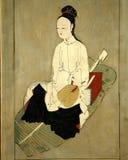 Het antieke Aziatische vrouw schilderen royalty-vrije stock afbeeldingen