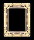 Het antieke gouden die kader op zwarte achtergrond wordt geïsoleerd Royalty-vrije Stock Afbeelding
