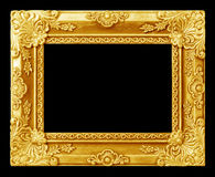 Het antieke gouden kader op de zwarte Stock Foto's