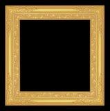 Het antieke gouden kader op zwarte achtergrond Royalty-vrije Stock Foto