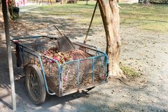Het antieke karretje van de staaltuin op grond stock foto