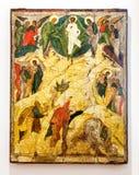 Het antieke Russische orthodoxe pictogram de geschilderde Transfiguratie streeft na Royalty-vrije Stock Foto