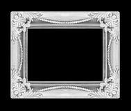 Het antieke zilveren die kader op zwarte achtergrond wordt geïsoleerd Stock Afbeeldingen