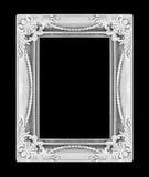 Het antieke zilveren kader op zwarte achtergrond Royalty-vrije Stock Foto's