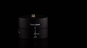 Het apparaat van tijdoverlappingen voor omwenteling 360 graad op zwarte achtergrond Royalty-vrije Stock Fotografie