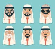 Het Arabische Avatars van de Reeks Traditionele Nationale Moslimkleren van Zakenmanyoung adult old Retro Uitstekende Pictogram va Stock Fotografie