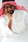 Het Arabische mens denken Stock Foto