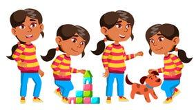 Het Arabische, Moslimjonge geitje van de Meisjeskleuterschool stelt Vastgestelde Vector Babyuitdrukking preschooler life Voor Pre royalty-vrije illustratie