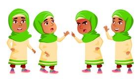 Het Arabische, Moslimjonge geitje van de Meisjeskleuterschool stelt Vastgestelde Vector Gelukkig Mooi Kinderenkarakter Voor Recla vector illustratie