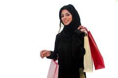 Het Arabische Vrouwelijke Winkelen Stock Afbeeldingen
