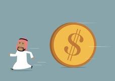 Het Arabische zakenman funning van krachtige dollar Stock Afbeelding