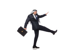 Het Arabische zakenman meeslepen geïsoleerd op wit Royalty-vrije Stock Fotografie