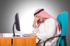 Het Arabische zakenman werken Stock Foto