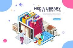 Het archief van het de encyclopedieweb van de woordenboekbibliotheek stock illustratie