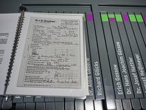 Het archief van documenten door het personeel van het kamp worden ondertekend dat royalty-vrije stock foto