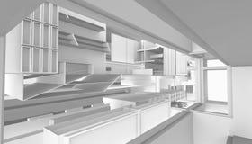 Het architecturale abstracte 3d teruggeven Royalty-vrije Stock Afbeeldingen
