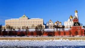 Het architecturale ensemble van Moskou het Kremlin Stock Afbeeldingen