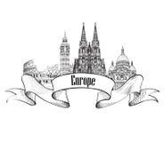 Het architecturale etiket van Europa Beroemde gebouwen en oriëntatiepunten Europese ca Stock Foto