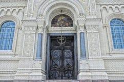Het architecturale fragment van de Zeekathedraal van Sinterklaas in Kronstadt Stock Foto's