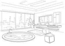 Het architecturale lineaire binnenland van de schetsbadkamers Royalty-vrije Stock Afbeeldingen