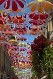 Het arresteren de kunst van de paraplustraat, Frankrijk Stock Foto