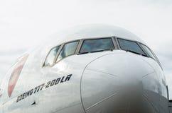 Het Arsenaal van de Emiraten van Boeing 777-200 Rusland Heilige-Petersburg 10 augustus, 2017 Royalty-vrije Stock Afbeelding