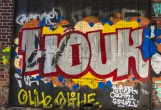 Het art Kleurrijke graffiti op de muur Abstract detail van een graffiti Royalty-vrije Stock Afbeeldingen