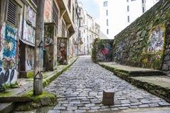 Het art Kleurrijke graffiti op de muur Abstract detail van een graffiti Stock Afbeelding