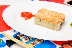 Het art. van waterfud Japanse sushi op een witte plaat Stock Foto