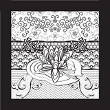 Het Art. van waterlily flower black white marker Royalty-vrije Stock Afbeelding