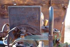 Het artelliriyskoy kanon van de controleeenheid met de informatieera van Wereldoorlog II Spanje, Alicante, Santa Barbara-kasteel Stock Afbeeldingen
