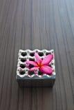 Het asbakje van het aluminium en roze bloem Royalty-vrije Stock Foto's
