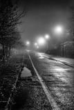 Het asfalt op regenachtig Stock Foto