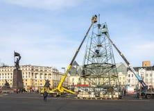 Het assembleren van een Kerstboom. Royalty-vrije Stock Fotografie