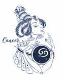 Het astrologische teken van kanker als mooi meisje zodiac horoscope astrologie Vector vector illustratie
