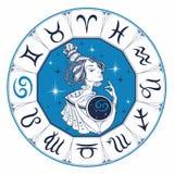 Het astrologische teken van kanker als mooi meisje zodiac horoscope astrologie Vector royalty-vrije illustratie