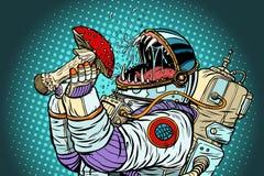 Het astronautenmonster eet Vliegplaatzwam Hebzucht en honger van mensheid c stock illustratie