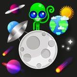 Het astronautenverblijf op planeet of Maan en heet ons welkom Drukken vectorillustratie vector illustratie