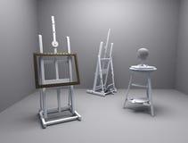 Het atelier van de schilder en van de beeldhouwer Royalty-vrije Stock Foto