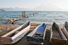 Het atitlan-fisherboats van het meer stock afbeelding