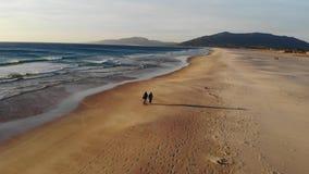 Het Atlantische kuststrand is de stad van Tarifa Spanje, golvenbranding en zandig strand bij zonsondergang Leeg strand in de wint stock video