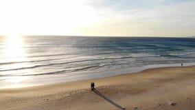 Het Atlantische kuststrand is de stad van Tarifa Spanje, golvenbranding en zandig strand bij zonsondergang Leeg strand in de wint stock videobeelden