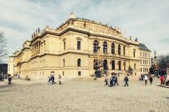 Het auditorium en de kunstgalerie van de Rudolfinummuziek in Praag, Tsjechisch Rep stock afbeeldingen