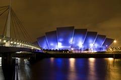 Het Auditorium van Clyde in Glasgow Schotland bij nacht Royalty-vrije Stock Afbeeldingen